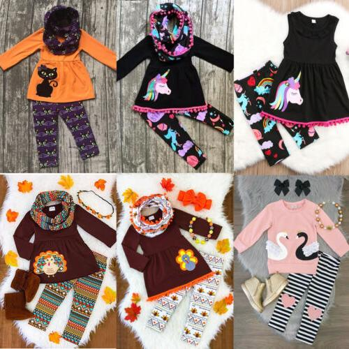 USA Girl Outfits Clothes T-shirt Tops Dress+Pants