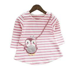Colorful Childhood Little Girls Cotton Tees Cartoon Kids Lon