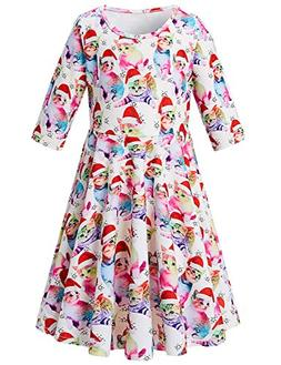 Little Girls Xmas Hat Cats Dress Half Sleeve Aline Dresses V
