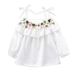 Colorful Childhood Little Girls Off Shoulder Flower White T