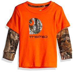 Carhartt Baby Boys Long Sleeve Tee Shirt, camo c Orange, 3M