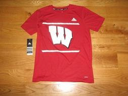 NEW Boys WISCONSIN BADGERS Adidas Climalite Youth T-Shirt Si