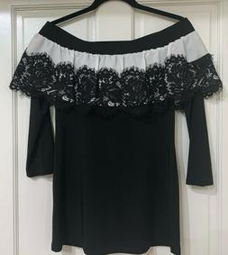 NEW Joseph Ribkoff Black/White off the shoulder top with Lac