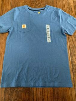 NEW Youth Boys Girls Carhartt Pocket Tee Shirt Blue Cotton M