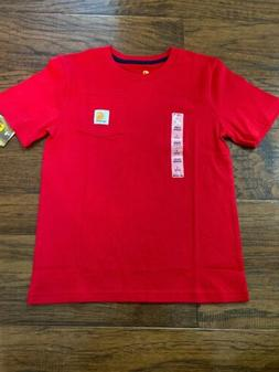 NEW Youth Boys Girls Carhartt Pocket Tee Shirt Red Cotton Si