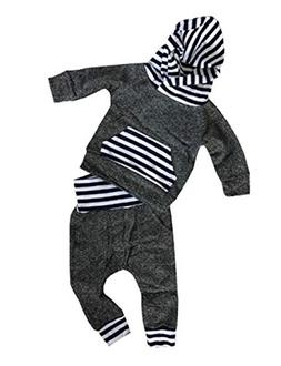 Newborn Baby Boy Girl Warm Hoodie T-Shirt Top + Pants Outfit