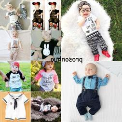 Newborn Toddler Infant Kids Baby Boy Girl Outfits Clothes T-