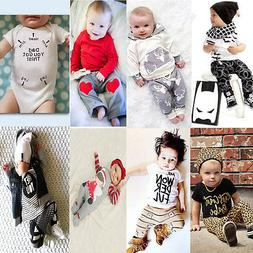Newborn Toddler Kids Baby Boys Girls Outfits Clothes T-shirt