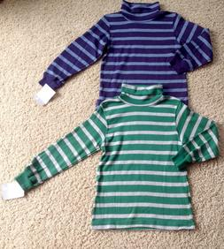 NWT Carter's Kid Boy Size 4 Blue Green Striped Turtle Neck S