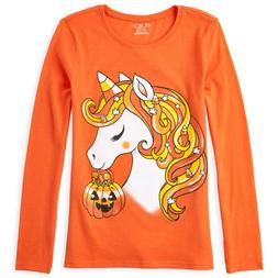 NWT The Childrens Place Unicorn Girls Long Sleeve Orange Hal