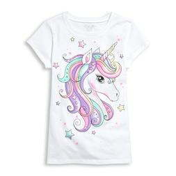 NWT The Childrens Place Unicorn Rainbow Sparkle White Girls