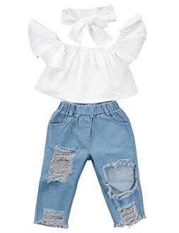 3pcs Baby Girls Kids Off Shoulder Lotus Leaf Top Holes Denim