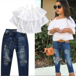 Spring Toddler Kids Girls Outfits Short Shirt Tops Jeans Pan