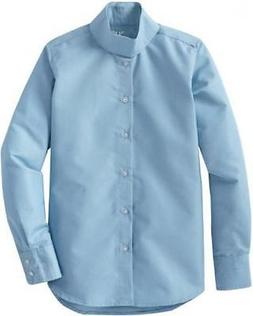 TuffRider Girl's Starter Long Sleeve Show Shirt, Light Blue,