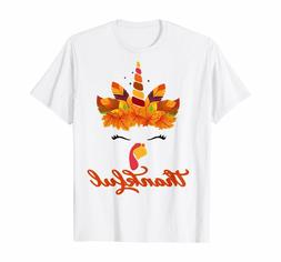 Thankful Unicorn Turkey Face Thanksgiving Outfit Girl Kids T