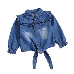 Toddler Girls Crop Tie Tops Denim Shawl Jeans Shirt Children