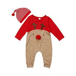 Aliven Toddler Infant Baby Girl Boy Long Sleeve Deer Romper