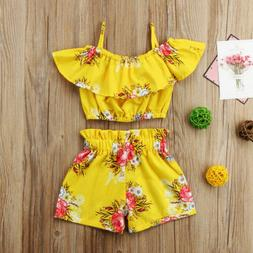 Toddler Kids Baby Girl Floral Outfits Clothes T-shirt Tops+P