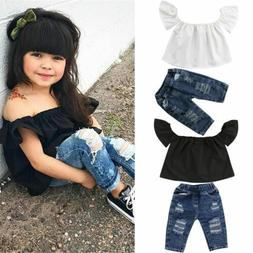 CANIS Toddler Kids Baby Girl Off Shoulder Tops Shirt Denim P