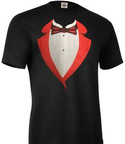Tuxedo T-Shirt Red Bow Tie Funny Wedding Prom Bachelor Adult