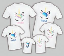 Unicorn Birthday Matching T-shirts  Party Family Kid Tshirt