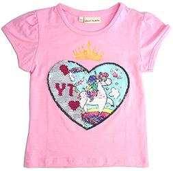 Unicorn Flip Heart Sequin Girl's T-Shirt Short/Long Sleeve