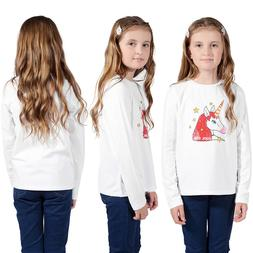 Unicorn Printed Kids Girl Children T-shirt Long Sleeve Tee T
