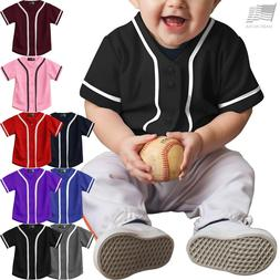 Babys BASEBALL BUTTON T Shirts Kids Jersey Uniform School Sp
