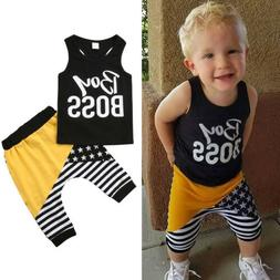 US Cool Kids Baby Boy Outfits Clothes Tee T-shirt Top+Pant L