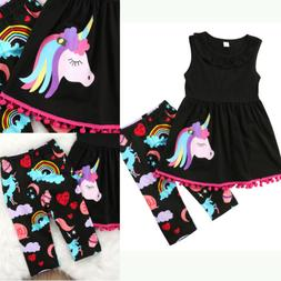 US STOCK Unicorn Kids Baby Girl Outfit Clothes T-shirt Long