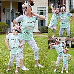 US Family Outfits Clothes Mother Daughter Kids Matching T-sh
