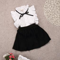 US Canis Kids Baby Girls Clothes Summer Tops Shirt+Skirts Tu