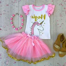 US Seller Kids Baby Girl Unicorn Top T-shirt Lace Tutu Skirt