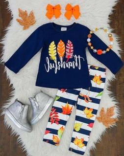 US Stock Kids Baby Girls Thanksgiving Clothes T-shirt Top Pa