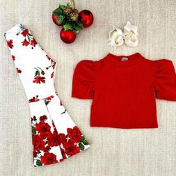 US Toddler Baby Girls Knitted Top T-shirt+Flare Pants Kids C