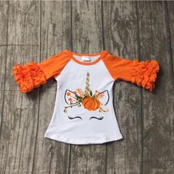US Toddler Baby Kids Girl Unicorn Pumpkin Long Sleeve Cotton
