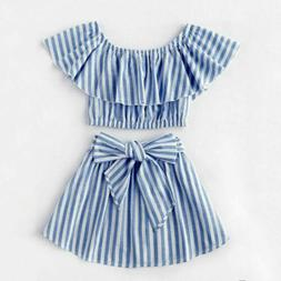 USA Canis Kid Baby Girl Off Shoulder Tops T-shirts Striped S