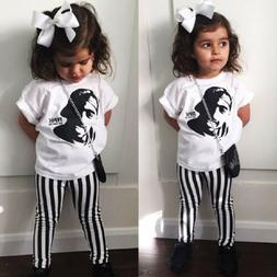 USA Toddler Baby Kids Girls Tops T Shirt Striped Pants Outfi