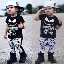 USA Canis Newborn Kids Baby Boys Skull Halloween Cotton T-sh