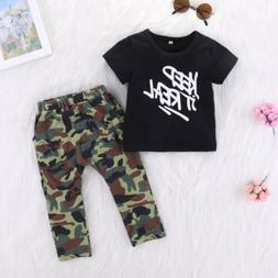 USA Canis Toddler Kids Baby Boys T Shirt Tops+Camouflage Lon