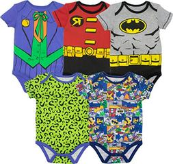 Warner Bros. Baby Boys' 5 Pack Bodysuits - Batman, Robin, Jo