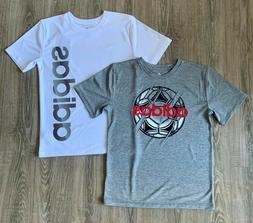 Adidas Youth Boy's Athletic Tee 2 Pack Color White & Gray Si