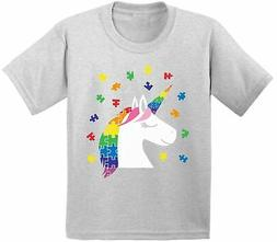 Youth Unicorn Autism Shirt for Kids Autism Awareness Shirt P